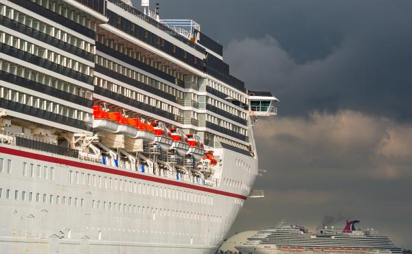 The Carnival Corp. Miracle and Panorama cruise ships anchored in Long Beach, Calif. on April 13, 2020.