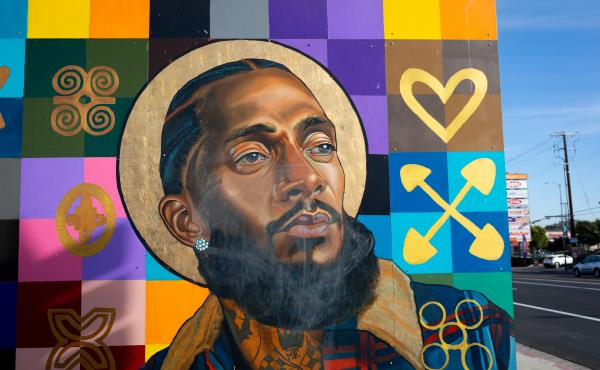 Nipsey Hussle is part of a mural featuring other local notable people on the wall of a bank in the rapper's Hyde Park neighborhood. In the wake of Hussle's March 2019 death, many murals of the beloved Los Angeles musician were painted in the Hyde Park nei