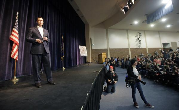 Rep. Jason Chaffetz speaks during a town hall meeting at Brighton High School on Thursday in Cottonwood Heights, Utah.