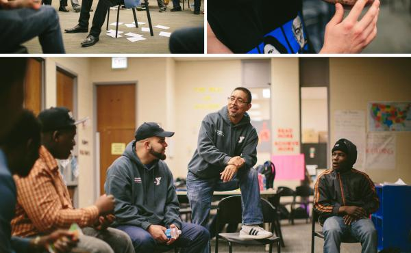 (Top, left) In an exercise designed to open up the conversation between veterans and teenagers, Navy veteran Jamal McPherson waits for others to ask him questions. (Top, right) Veteran Mikhail Dasovich, who served as a Marine in Sangin in Afghanistan, sha
