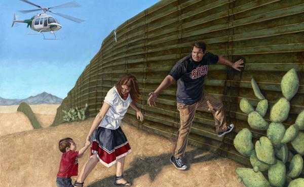 In Search of a New Home is part of Eric Almanza's series of oil paintings depicting the border wall with Mexico.