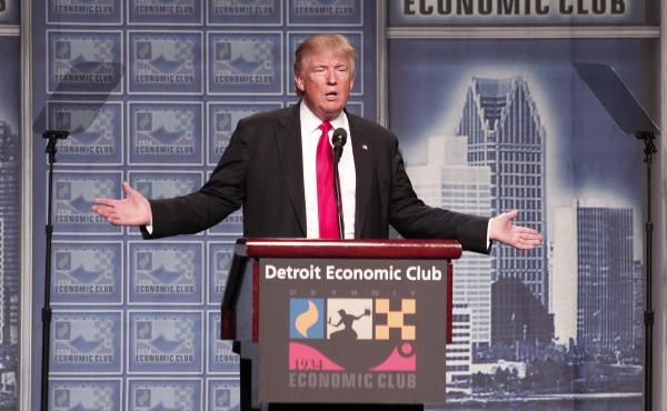 Republican presidential candidate Donald Trump delivers an economic policy address detailing his economic plan at the Detroit Economic Club.