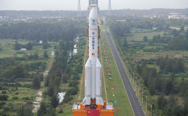 The rocket, pictured on Nov. 17, will launch China's Chang'e-5 lunar probe on Tuesday. Here it is being transported to the launching area at the Wenchang Spacecraft Launch Site in southern China's Hainan province.