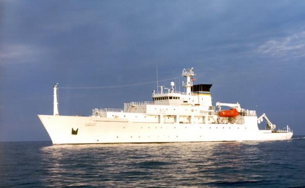 A Navy file photo shows T-AGS 60 Class Oceanographic Survey Ship, USNS Bowditch. The Navy says the ship's mission includes oceanographic sampling and data collection and the handling, monitoring and servicing of remotely operated vehicles (ROVs), among ot