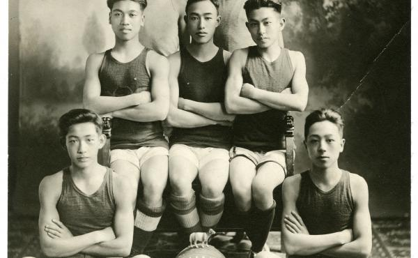 A Chinese basketball team from the YMCA in San Francisco, 1919.