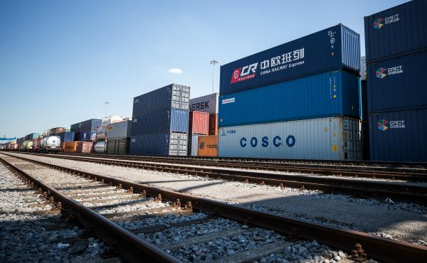 Containers from China are stacked next to the train station in the Duisburg port in July. Approximately 25 trains a week use a new connection between Duisburg and the Chinese cities of Chongqing and Yiwu. Several European countries use the railway for tra