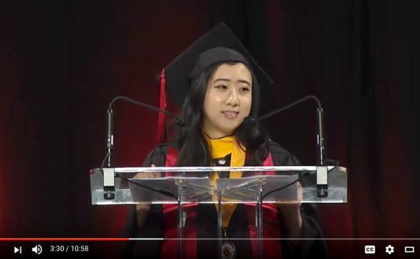 "In a video shared on YouTube, graduate Shuping Yang praised the ""fresh air of free speech"" in the U.S. during her commencement address at the University of Maryland on Sunday."