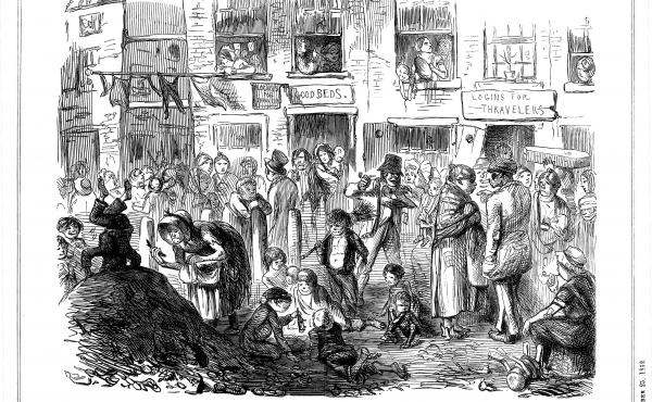 A cartoon from an 1852 issue of Punch shows the unsanitary conditions in London slums, which led to cholera outbreaks.