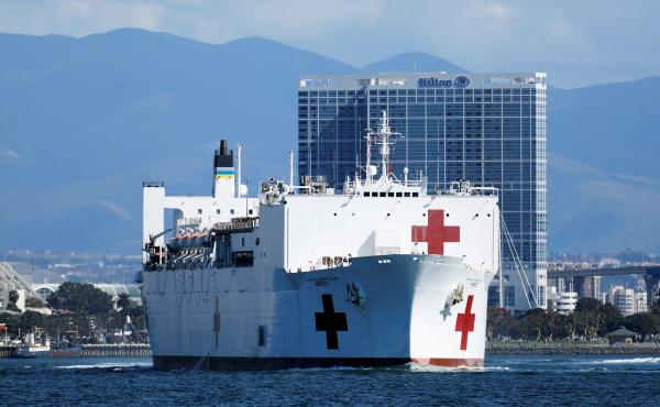 Navy medical and support personnel staff the USNS Mercy, but the hospital ship belongs to the Navy's Military Sealift Command and is run by a crew of civilian mariners. The ship headed to the Port of Los Angeles on March 23 in response to the coronavirus