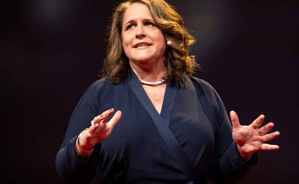 Claire Wardle on the TED stage.