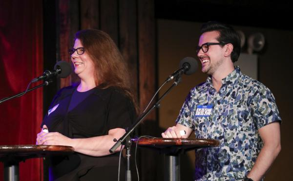 Contestants Alysa O'Shea and Mike Racioppa appear on Ask Me Another at the Bell House in Brooklyn, New York.