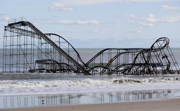 A roller coaster that once sat on the Funtown Pier in Seaside Heights, N.J., rests in the ocean on Oct. 31, 2012, after the pier was washed away by Hurricane Sandy.