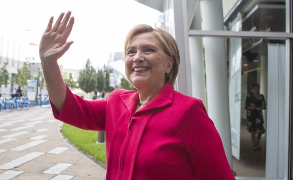 Hillary Clinton outside the Fresh Air studio in Philadelphia on Sept. 14.
