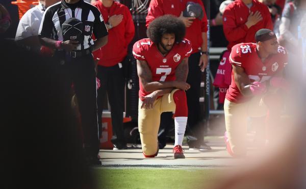 Colin Kaepernick kneels for the national anthem at Levi's Stadium in Santa Clara, Calif., on Oct. 23, 2016.