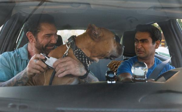 Somebody's Uber rating is taking a hit. L to R: Vic (Dave Bautista), Stroker (Pico) and Stu (Kumail Nanjiani) in Stuber.