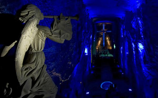 The Salt Cathedral of Zipaquirá is an underground church built inside a salt mine, and made entirely of salt.