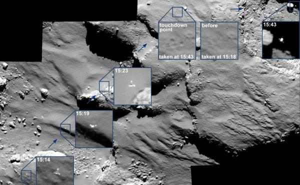 The Rosetta spacecraft, which orbits the comet, captured this series of images of the Philae lander bounding off the surface. The precise spot the lander came to a stop remains unknown.