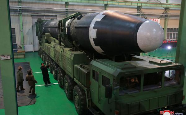 North Korean leader Kim Jong Un views the Hwasong-15 missile in this undated photo released by North Korea's Korean Central News Agency. The missile is believed to be capable of reaching the continental United States.