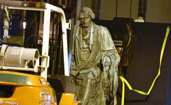 Crews worked to remove the statue of Supreme Court judge and segregationist Roger Taney from the front lawn of the Maryland State House late Thursday night. Taney wrote the 1857 Dred Scott decision that defended slavery and said black Americans could neve