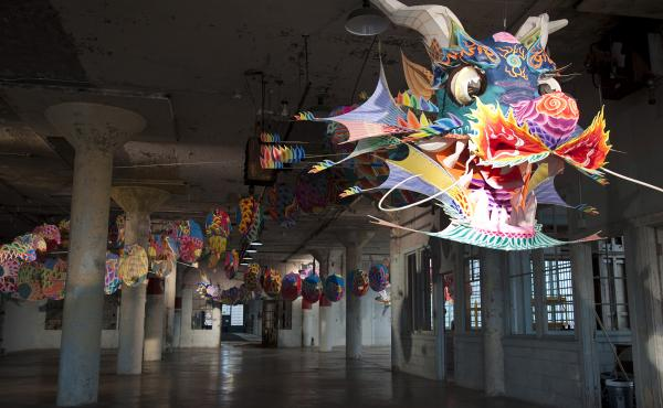 """Ai Weiwei's With Wind greets visitors to his exhibit, """"@Large,"""" on Alcatraz Island in San Francisco."""