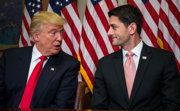 Then President-elect Donald Trump meets with House Speaker Paul Ryan at the U.S. Capitol in November.