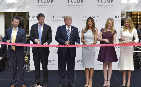 President Trump has refused to divest himself of businesses and investments that could pose conflicts of interest. For example, the Trump International Hotel (seen here), located just blocks from the White House, regularly hosts events with foreign diplom
