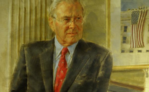 A 2017 congressional committee report singled out this picture of Donald Rumsfeld as one example of the high cost of official portraits. Unveiled in 2010, after Rumsfeld's tenure as secretary of defense had ended, this official image — Rumsfeld's second