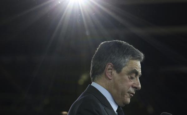 Conservative French presidential candidate Francois Fillon delivers a speech April 9 during a campaign meeting in Paris. The two-round presidential election is set for April 23 and May 7. Fillon has played up his religion during the campaign, and that has