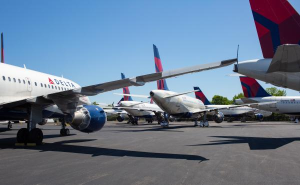 As passenger demand slumped because of the coronavirus pandemic, Delta parked dozens of unneeded jets at the Birmingham-Shuttlesworth International Airport in Alabama in May.