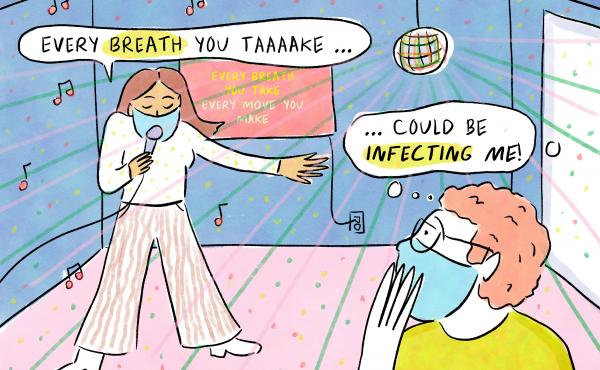 A comic of a man worrying about being infected by someone singing karaoke.