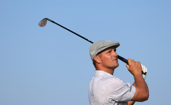Bryson DeChambeau of the United States tested positive for the coronavirus before leaving the U.S. for the Tokyo Olympics. He's shown here earlier this month playing at the Open Championship in Scotland.