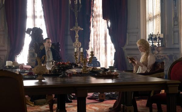 Huzzah? Emperor Peter of Russia (Nicholas Hoult) and a disillusioned Catherine of Prussia (Elle Fanning) enter into a not-great marriage in Hulu's The Great.