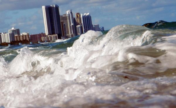 Buildings are seen near the ocean in North Miami. Broward County and many communities in southeast Florida have been aggressive and proactive in preparing for the effects of climate change.