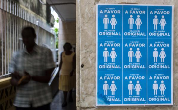 """The Cuban government announced plans to remove wording that would open the island to same-sex marriage from the latest draft of its new constitution. In October, Cubans who protested the controversial amendment hung posters saying, """"I'm in favor of the or"""