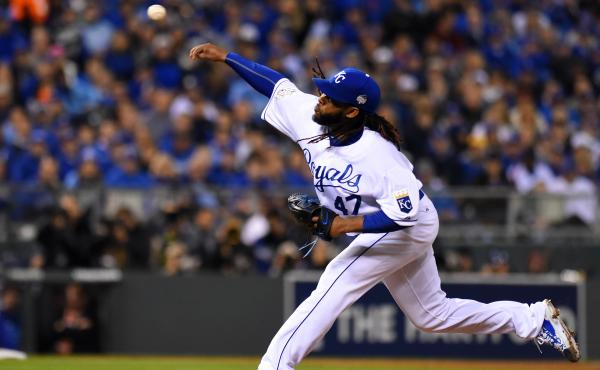 Johnny Cueto of the Kansas City Royals throws a pitch in the third inning Wednesday night against the New York Mets in Game Two of the 2015 World Series in Kansas City.