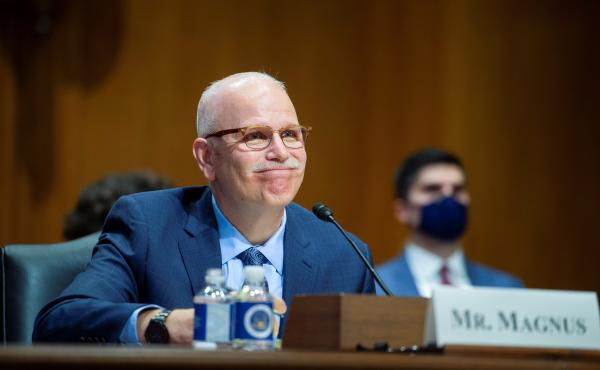 Chris Magnus testifies before the Senate Finance Committee on his nomination to be the next U.S. Customs and Border Protection commissioner, Tuesday, Oct. 19, on Capitol Hill in Washington, D.C.