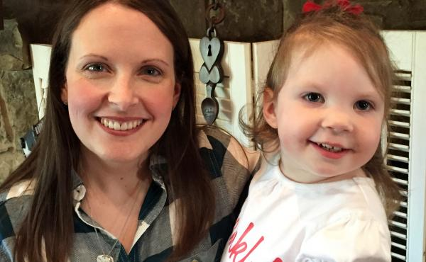 """Intensive home-visits by physical, occupational and speech therapists have been """"a lifesaver,"""" for little Haylee Crouse, her mom Amanda (left) told Shots. Haylee, who is now 2, developed seizures and physical and intellectual disabilities after contractin"""