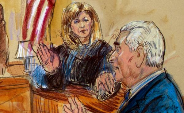 In this sketch, Judge Amy Berman Jackson presides over a court hearing for Trump campaign adviser Roger Stone at the U.S. District Courthouse in Washington, D.C., in February. Jackson is among the women judges playing a central role in the Russia investig