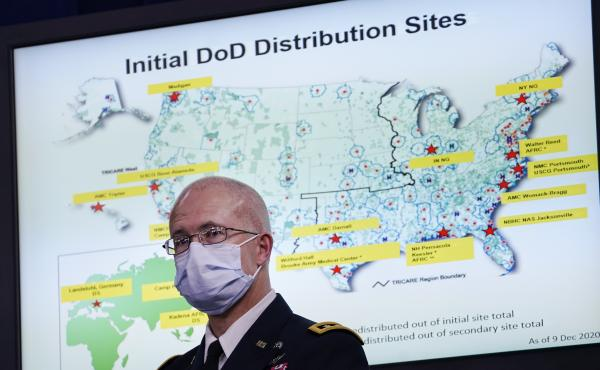 Director of the Defense Health Agency Army Lt. Gen. Ronald Place on Dec. 9. The DOD expects to receive about 44,000 doses of Pfizer's coronavirus vaccine as early as next week.