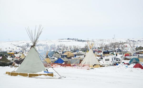 Several hundred protesters remain camped on the North Dakota prairie in opposition to the Dakota Access Pipeline. They have erected shelters from Army tents to teepees to wooden structures to stay warm this winter.