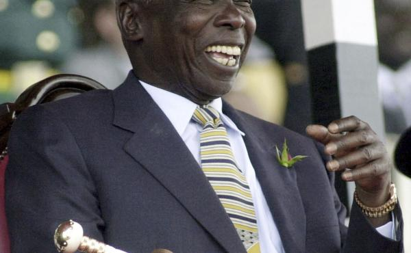 Daniel arap Moi, shown in a photo from 2002, ruled Kenya for nearly a quarter century, a period marked by repression, widespread corruption and economic stagnation. Moi has died at 95.