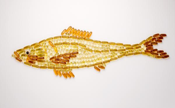 A fish made out of fish oil capsules