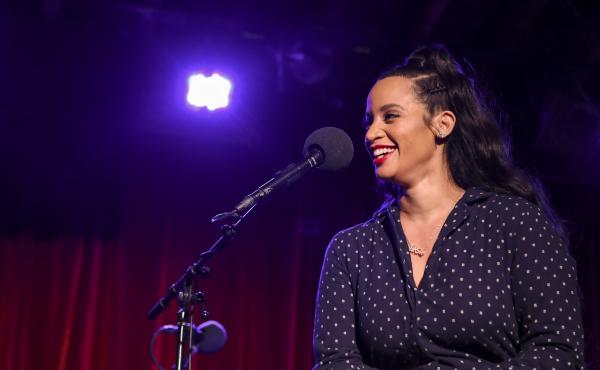 Dascha Polanco appears on Ask Me Another at the Bell House in Brooklyn, New York.