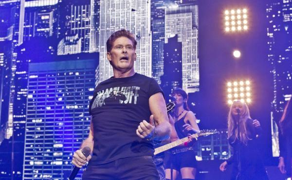 "David Hasselhoff performs during a concert in Berlin on Oct. 3 — Germany Unity Day. In 1989, his song ""Looking for Freedom"" was the anthem to many Germans' newfound freedom."