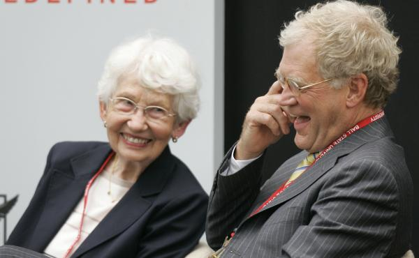 David Letterman, right, the host of The Late Show with David Letterman on CBS, and his mother Dorothy Mengering share a laugh during the dedication of the $21 million David Letterman Communication and Media Building on the campus in Muncie, Ind., in 2007.
