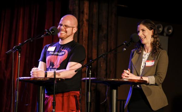 Contestants Jacob Berman and Michelle Szpilzinger compete on Ask Me Another at the Bell House in Brooklyn, New York.