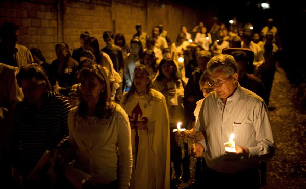 A vigil is held against violence in Cali, Colombia. The country has seen some 1,090 homicides this year.