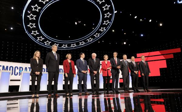 From the Democratic presidential debates hosted in Detroit, candidates (left) Marianne Williamson, Rep. Tim Ryan, Sen. Amy Klobuchar, Mayor Pete Buttigieg, Sen. Bernie Sanders, Sen. Elizabeth Warren, former Rep. Beto O'Rourke former Gov. John Hickenlooper