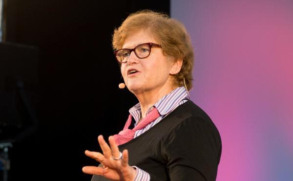 Deborah Lipstadt on the TEDxSkoll stage.