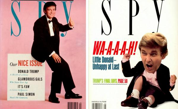 Two Spy covers feature Donald Trump, who was frequently criticized in the magazine by co-creators Kurt Andersen and Graydon Carter.